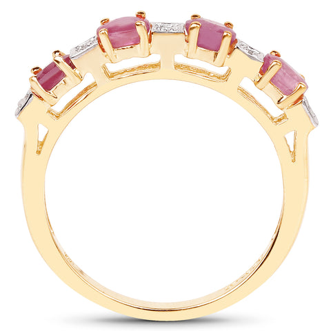 14K Yellow Gold Plated 0.91 Carat Genuine Ruby and White Diamond .925 Sterling Silver Ring