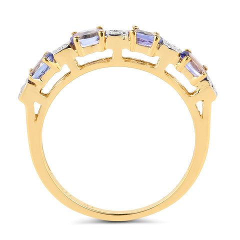 14K Yellow Gold Plated 0.71 Carat Genuine Tanzanite & White Diamond .925 Sterling Silver Ring