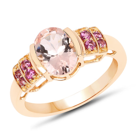 1.98 Carat Genuine Morganite & Rhodolite 14K Yellow Gold Ring