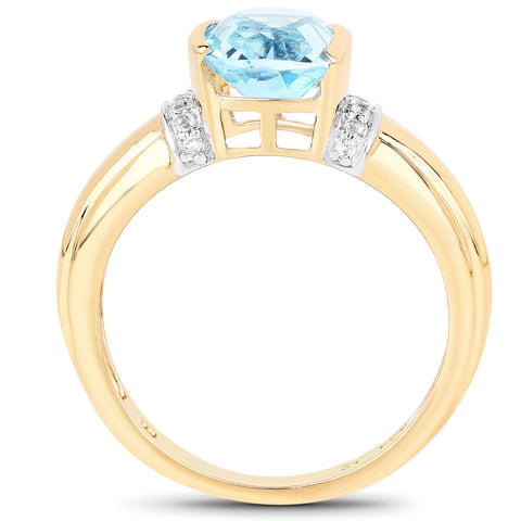 14K Yellow Gold Plated 2.72 Carat Genuine Blue Topaz and White Topaz .925 Sterling Silver Ring