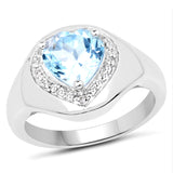 2.13 Carat Genuine Blue Topaz and White Topaz .925 Sterling Silver Ring