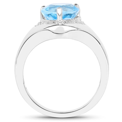 2.23 Carat Genuine Swiss Blue Topaz and White Topaz .925 Sterling Silver Ring