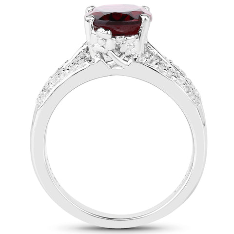 3.28 Carat Genuine Rhodolite and White Topaz .925 Sterling Silver Ring