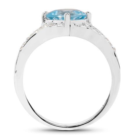 2.06 Carat Genuine Blue Topaz and White Topaz .925 Sterling Silver Ring