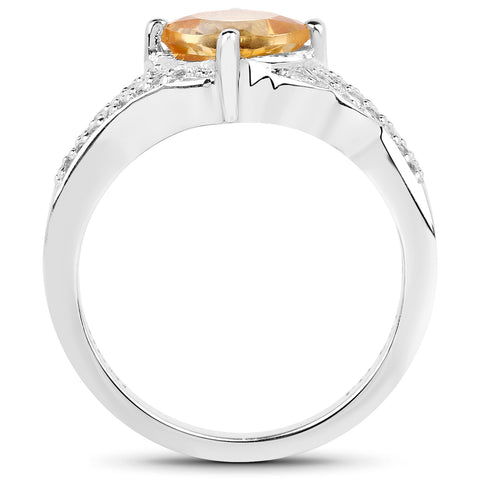 1.32 Carat Genuine Citrine and White Topaz .925 Sterling Silver Ring