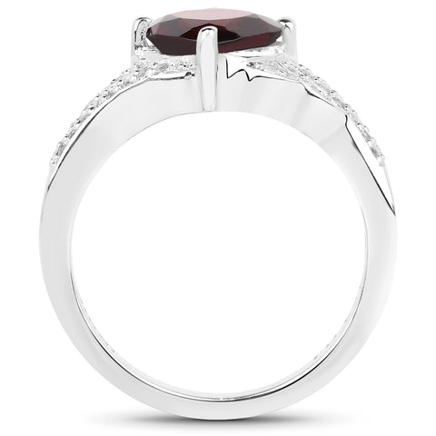 1.67 Carat Genuine Garnet and White Topaz .925 Sterling Silver Ring