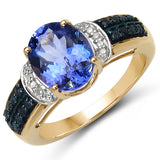 2.98 Carat Genuine Tanzanite, Blue Sapphire & White Diamond 10K Yellow Gold Ring