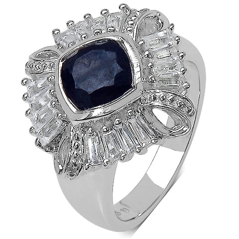 2.69 Carat Genuine Multi-Gems and 0.01 ct.t.w Genuine Diamond Accents Sterling Silver Ring