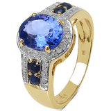 2.46 Carat Tanzanite, Blue Sapphire & White Diamond 10K Yellow Gold Ring