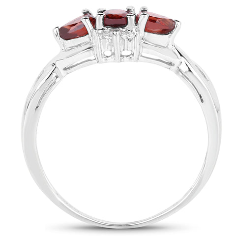 0.59 Carat Genuine Garnet and White Topaz .925 Sterling Silver Ring