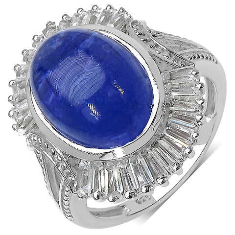 10.26 Carat Genuine Tanzanite .925 Sterling Silver Ring