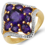 14K Yellow Gold Plated 3.80 Carat Genuine Amethyst .925 Sterling Silver Ring