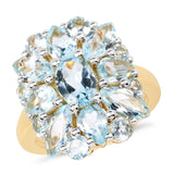 14K Yellow Gold Plated 7.28 Carat Genuine Blue Topaz .925 Sterling Silver Ring