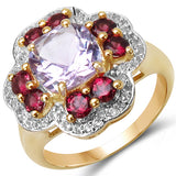 14K Yellow Gold Plated 3.47 Carat Genuine Amethyst, Rhodolite & White Topaz .925 Sterling Silver Ring