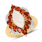 14K Yellow Gold Plated 4.54 Carat Genuine Rainbow, Citrine and White Topaz .925 Sterling Silver Ring