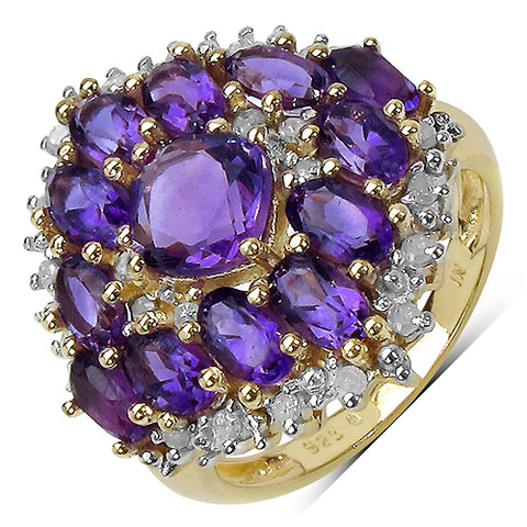 14K Gold Plated 4.06 Carat Genuine Amethyst and 0.24 ct.t.w Genuine Diamond Accents Sterling Silver Ring