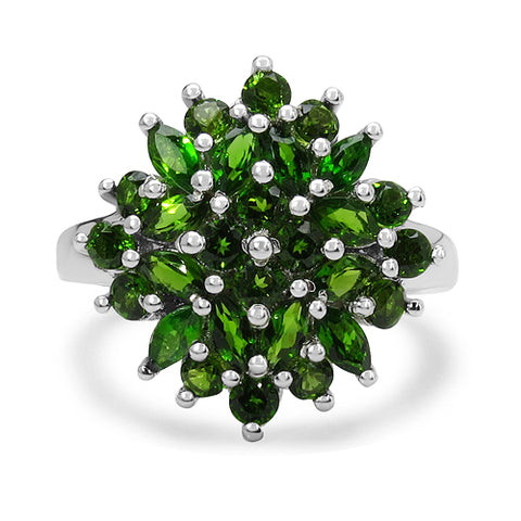 2.08 Carat Genuine Chrome Diopside .925 Sterling Silver Ring