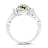 2.68 Carat Genuine Green Amethyst and White Topaz .925 Sterling Silver Ring