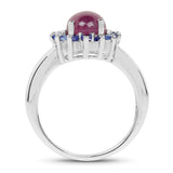 3.59 Carat Genuine Ruby & Tanzanite .925 Sterling Silver Ring