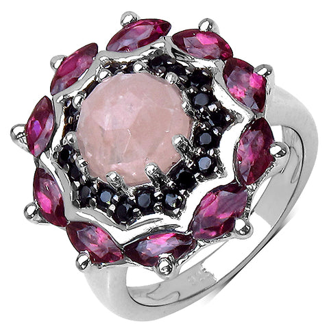 4.45 Carat Genuine Morganite, Rhodolite & Black Spinel .925 Streling Silver Ring