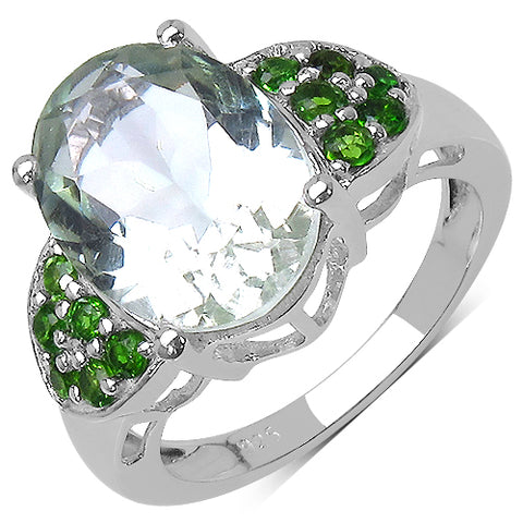 5.90 Carat Genuine Amethyst & Chrome Diopside .925 Streling Silver Ring
