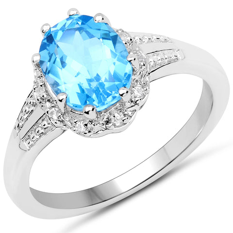 2.07 Carat Genuine Swiss Blue Topaz and White Zircon .925 Sterling Silver Ring