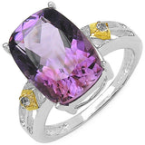 Two Tone Plated 5.91 Carat Genuine Amethyst & White Topaz .925 Sterling Silver Ring