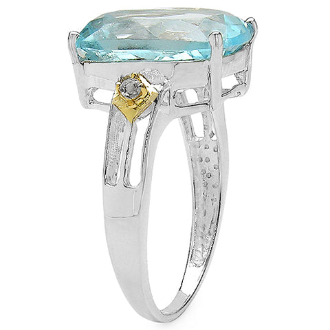 Two Tone Plated 7.41 Carat Genuine Blue Topaz & White Topaz .925 Sterling Silver Ring