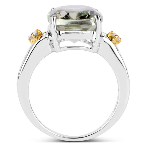 Two Tone Plated 5.06 Carat Genuine Green Amethyst & White Topaz .925 Sterling Silver Ring