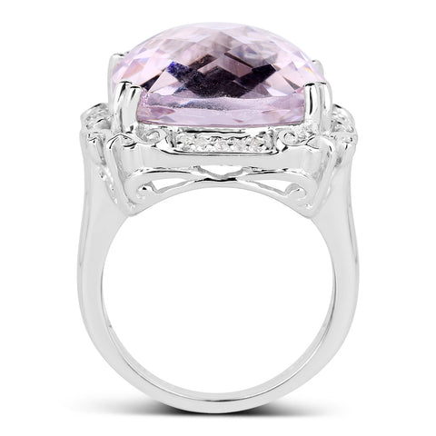 13.83 Carat Genuine Pink Amethyst & White Topaz .925 Sterling Silver Ring