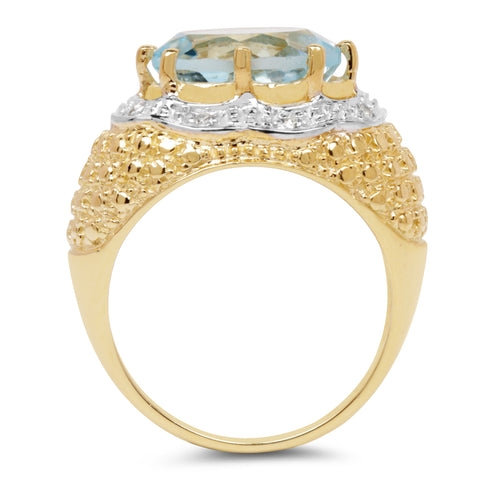 14K Yellow Gold Plated 5.27 Carat Genuine Blue Topaz & White Topaz .925 Sterling Silver Ring