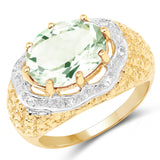 14K Yellow Gold Plated 4.37 Carat Genuine Green Amethyst and White Topaz .925 Sterling Silver Ring