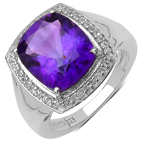 4.00 Carat Genuine Amethyst & White Topaz .925 Streling Silver Ring