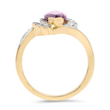 14K Yellow Gold Plated 1.77 Carat Genuine Amethyst and White Topaz .925 Sterling Silver Ring
