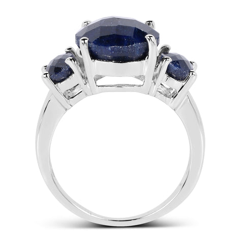 14K White Gold Plated 7.67 Carat Dyed Sapphire .925 Sterling Silver Ring