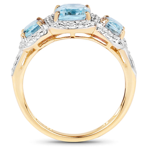 14K Yellow Gold Plated 1.92 Carat Genuine Blue Topaz .925 Sterling Silver Ring