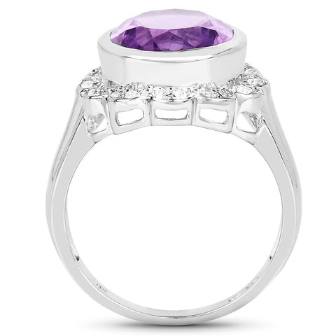 4.04 Carat Genuine Amethyst and White Topaz .925 Sterling Silver Ring