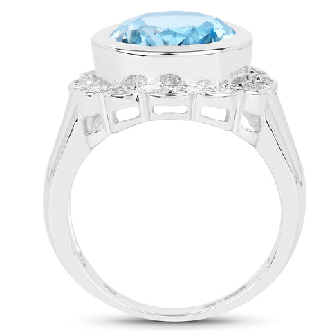 5.39 Carat Genuine Blue Topaz and White Topaz .925 Sterling Silver Ring