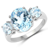 5.20 Carat Genuine Blue Topaz .925 Sterling Silver Ring