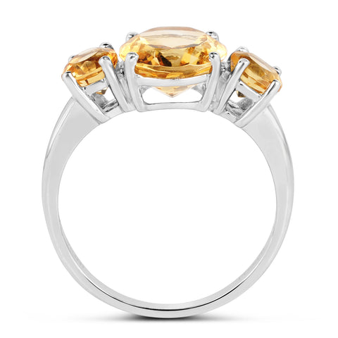 4.00 Carat Genuine Citrine .925 Sterling Silver Ring