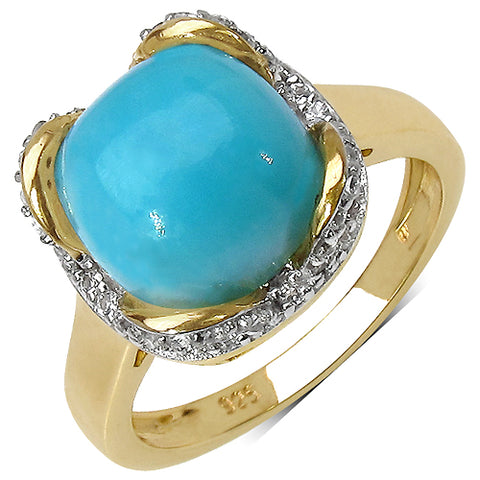 14K Yellow Gold Plated 2.88 Carat Genuine Larimar & White Topaz .925 Streling Silver Ring