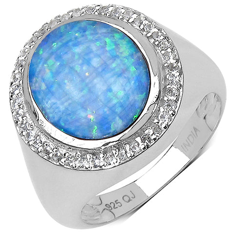 2.34 Carat Genuine Opal & White Topaz .925 Streling Silver Ring
