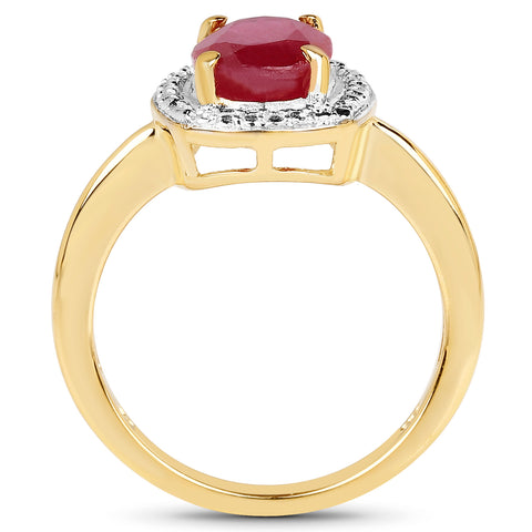 14K Yellow Gold Plated 2.30 Carat Glass Filled Ruby .925 Sterling Silver Ring