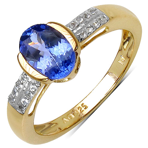 14K Yellow Gold Plated 1.33 Carat Genuine Tanzanite .925 Sterling Silver Ring