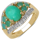 14K Yellow Gold Plated 6.87 Carat Genuine Crysopharse, Emerald & White Topaz .925 Streling Silver Ring