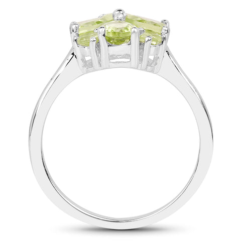 1.48 Carat Genuine Peridot .925 Sterling Silver Ring