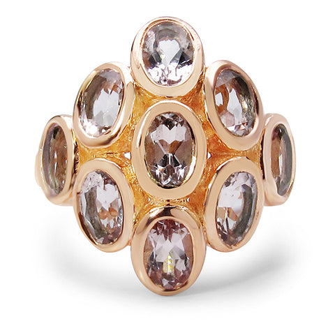 18K Rose Gold Plated 3.78 Carat Genuine Morganite .925 Sterling Silver Ring