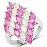 2.95 Carat Genuine Ethiopian Opal and Ruby .925 Sterling Silver Ring