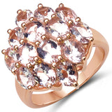 18K Rose Gold Plated 4.20 Carat Genuine Morganite .925 Sterling Silver Ring