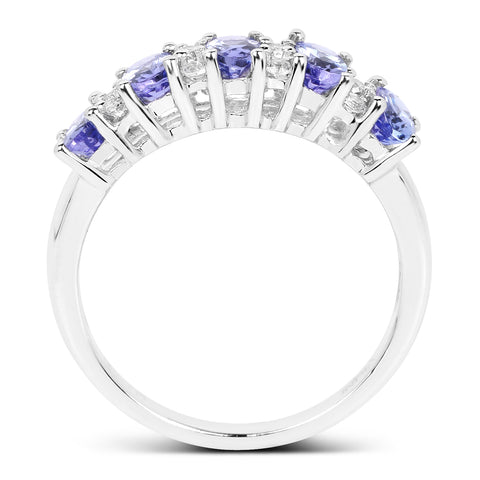 1.51 Carat Genuine Tanzanite and White Topaz .925 Sterling Silver Ring